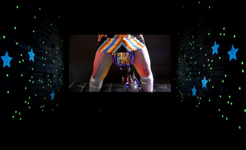 Big Bang, Birth, Deity, Queer, Femme, Goddess, Michelle Murphy, Michelle Marie Murphy, Chicago, Chicago artist, artist, performance, video, installation, glow, stars, rainbow, Sci-Fi, Future, Futurist, art, Cleveland, SPACES, SPACES Gallery, Christina Vassallo, Kristin Rogers,