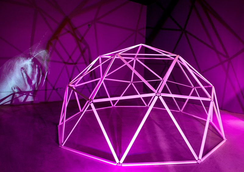 geodesic dome, Buckminster Fuller, architecture, Fuller, dome, home, low-poly, low-poly art, breast, nipple, breast milk, nude, naked, female, mother, pink, theatre, projection, photography, hand, squirt, milk, breast milk, lunar, DIY, sculpture, Michelle Murphy, Michelle, Michelle Marie Murphy, art, artist, contemporary, installation