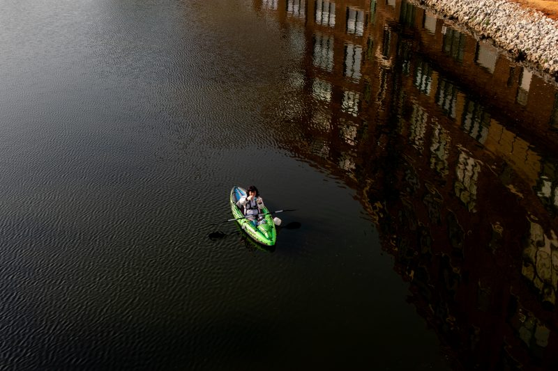 Anthropocene, environment, pollution, art, Chicago River, DFBRL8R, performance, performance art, photograph, photography, public art, Michelle Murphy, Michelle Marie Murphy, kayak, NASA, Challenger