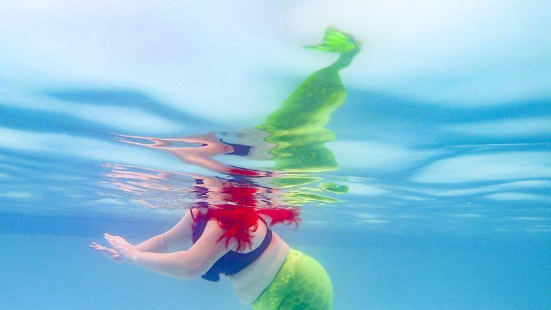 Disney, the Little Mermaid, Ariel, post-Disney, depression, cartoon, performance, art, Michelle Marie Murphy, Michelle Murphy, Chicago, Miami, Miami art, performance art, artist, mermaid, pool, femme, drag