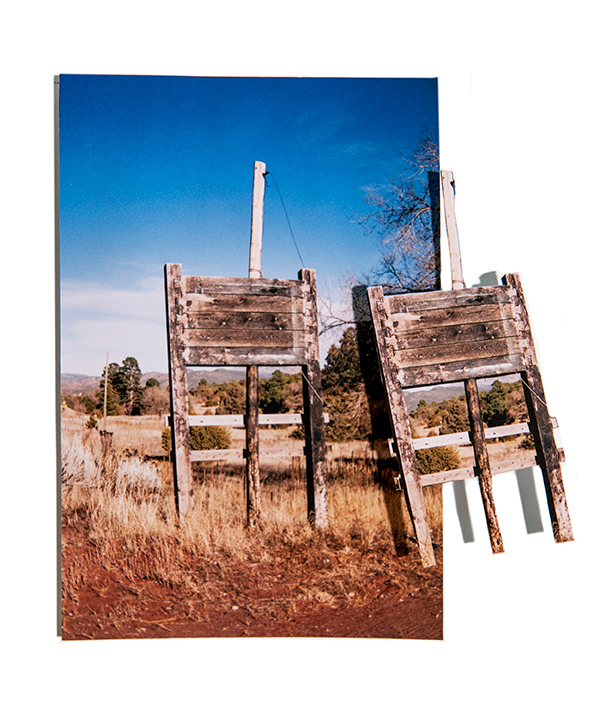 doubles prints, a topographic study of empty signs on both indigenous and colonized lands in New Mexico, 35mm color film, then printed and hand-cut,  2020
